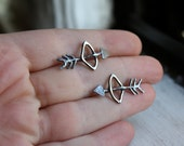 Oxidized Bow and Arrow Earrings