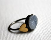 Gray Drusy Ring with Hearts- Handmade sterling silver