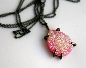Pink and Black- Candy Pink Drusy in Handmade Pronged Setting