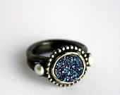Drusy Deluxe - Luxury Sterling Silver Ring with Blue Drusy and Pearls
