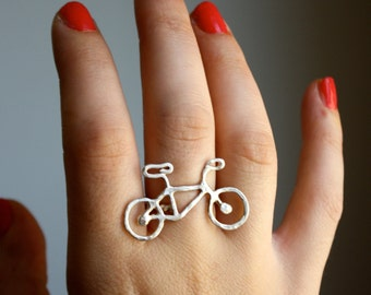 Ready to Ship- Tiny Bike Ring- Sterling Silver