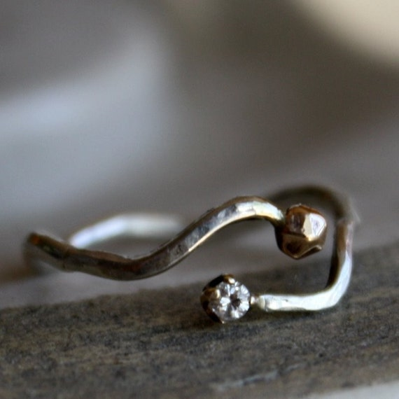 Sterling Silver and 14k gold Twig Ring with Diamond