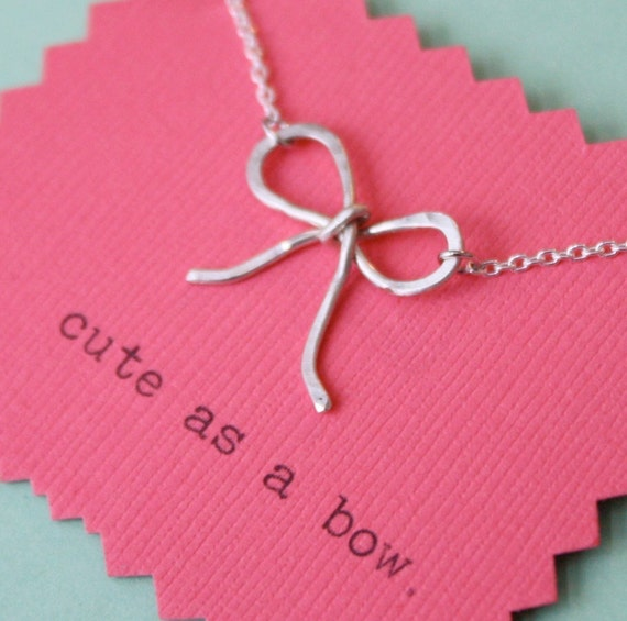 Wee Silver Bow Necklace