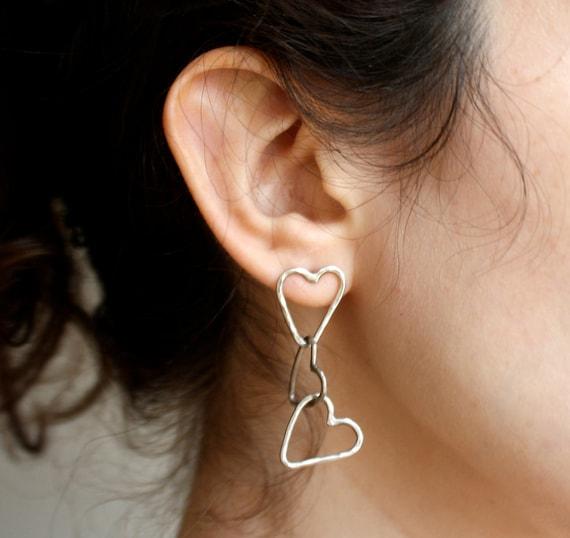 Handmade Cascading Hearts  Post Earrings in Sterling Silver by Rachel Pfeffer
