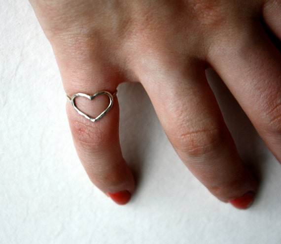 Handmade Petite Sterling Silver Heart Pinky Ring