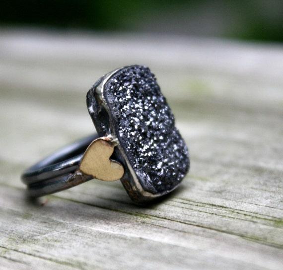 Midnight Graphite- Drusy and Sterling Silver Ring Handmade by Rachel Pfeffer
