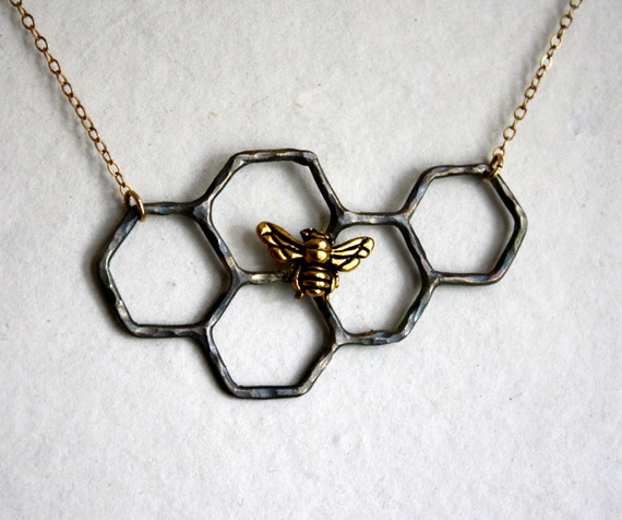 Oxidized Sterling Silver Honeycomb Necklace with Gold Plated Bee and 14k gold-filled chain