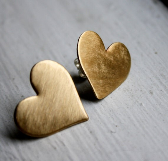 Valentines Day Handmade Large Brass Heart Studs