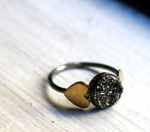 Black Drusy Ring with Brass Hearts