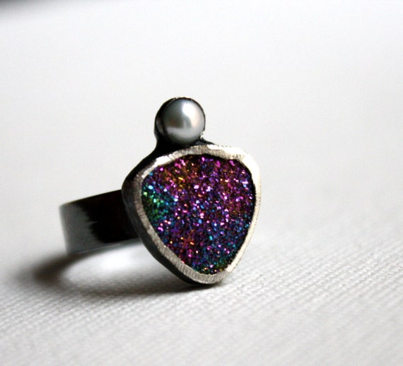 Rainbow Drusy Ring with Bezel Set Pearl- Handmade Sterling Silver, One of a Kind by Rachel Pfeffer