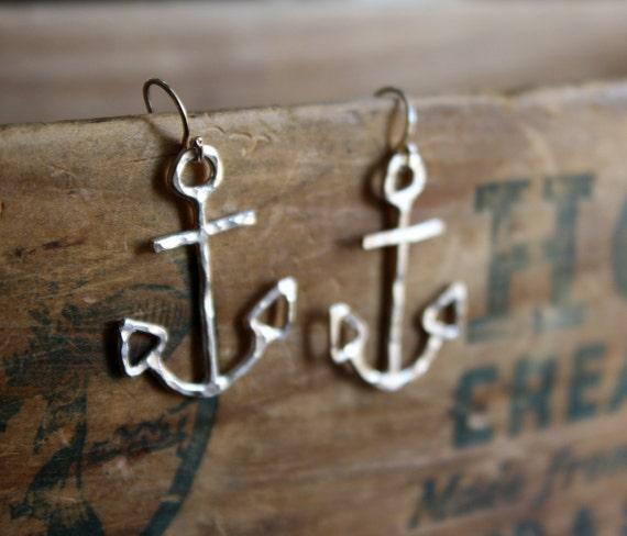 Nautical Sterling Silver Anchor Dangles- Handmade Sailor Earrings