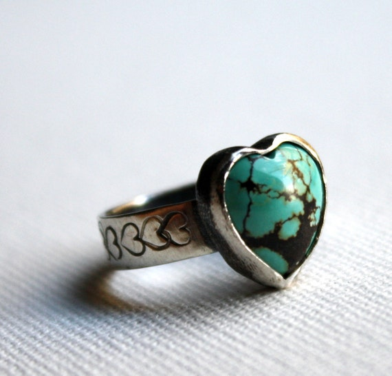 Hearts and More Hearts - Handmade Turquoise Heart Ring