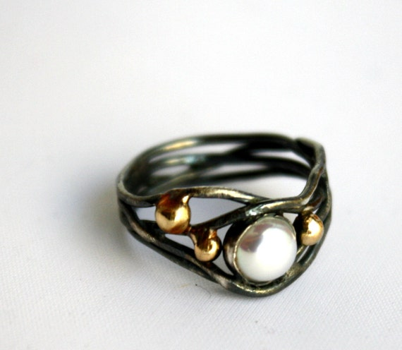 Oxidized Sterling Silver Nest ring with Pearl and 14k Gold Pebbles - Handmade and One of a Kind