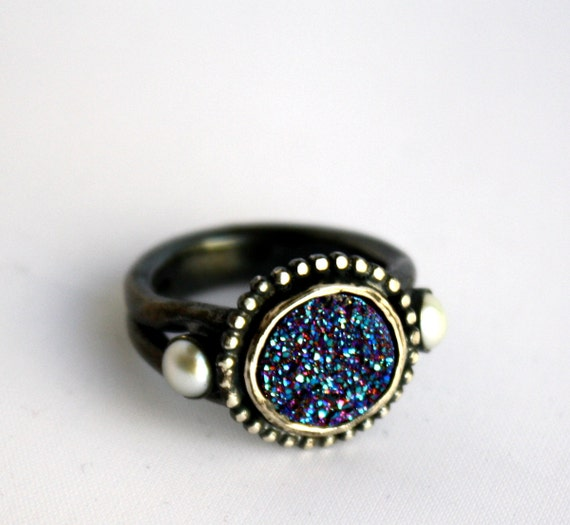 Drusy Deluxe -Heavy Sculptural Sterling Silver Cocktail Ring with Royal Blue Drusy and Pearls