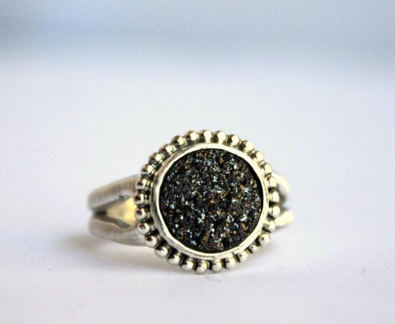 Drusy Deluxe - Luxury Drusy Ring Line - Midnight Drusy in Heavy Sterling Silver Ring