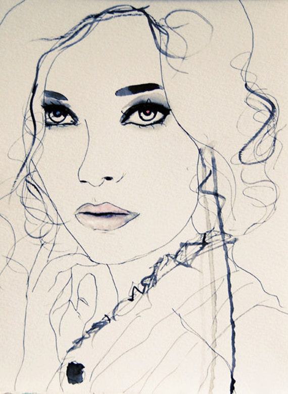 Twilight Blue - Fashion Illustration Art Print // Limited Edition