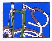 Bicycle Art Print - Ceya's Bike - Bars 15  Green on Blue