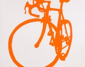 Bicycle Art - Orange Road  Bike Print