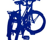 Bike Art - Rollfast Tandem in Indigo -  Bicycle Print