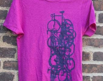 SALE - Bike Art T shirt - Bicycle Art Print Shirt - Vertical Bike stack on Violet Slub Crew Neck T