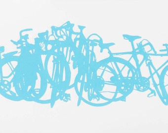 Bicycle Art Print - Bike Stack Midi 10-43 Blue on White Screen Print