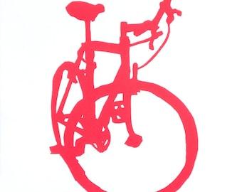 Bicycle Art - Red Mountain Bike Print