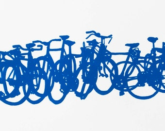 Bicycle Art Print - Bike Stack Mini 9-6 Blue