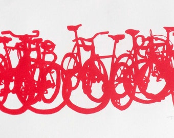 Bicycle Art Print - Bike Stack Midi 09-08 Red on Cream