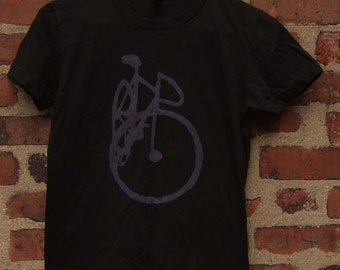 Pink on Black Track Bike Shirt - XL Only - Fixie Fixed Bike Bicycle Art Print T
