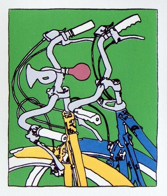 Bicycle Art Print - Two Bikes Together - Kate and Jamie's - Print