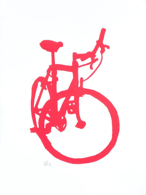 Bicycle Art Red Mountain Bike Print By Bicyclepaintings On