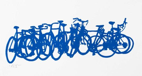 Bicycle Art Print - Bike Stack Mini 9-6 Blue