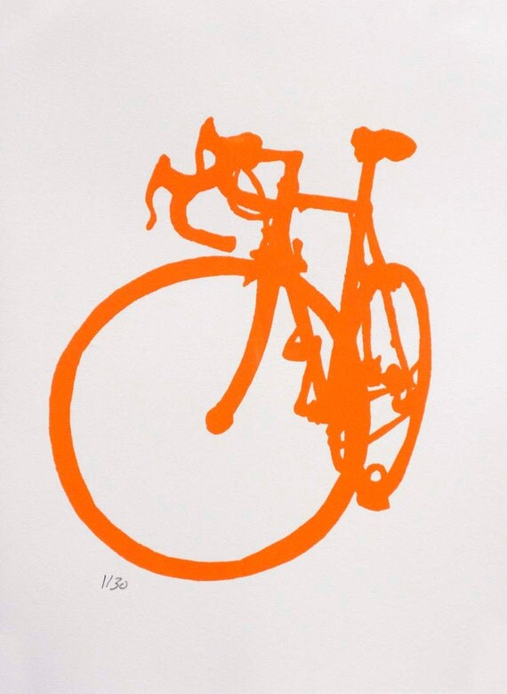 Bicycle Art Orange Road Bike Print