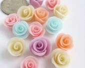 12 Tiny Clay Roses . Custom Color . Cold Porcelain