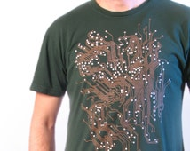 On SALE Circuit Board Men's T-Shirt - Men's Tee Shirt - Geek Gift - 3X Kelly Green (not pictured) Tech Gift
