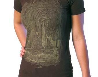 Tangled Forest T-shirt - Women's Surreal Shirt - Graphic Tee for Women - Deer Tee - Enchanted Forest - Nature Lover Gift
