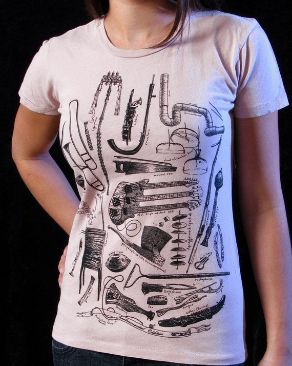 SALE Instrumental Oddities t-shirt on petal ..... Women's Extra Large tee