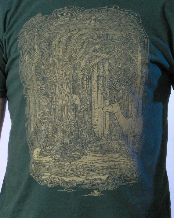 Clearance Sale - Enchanted Forest - Plus Size - Men's T shirt - Nature shirt - Animal Tshirt - Men's gift