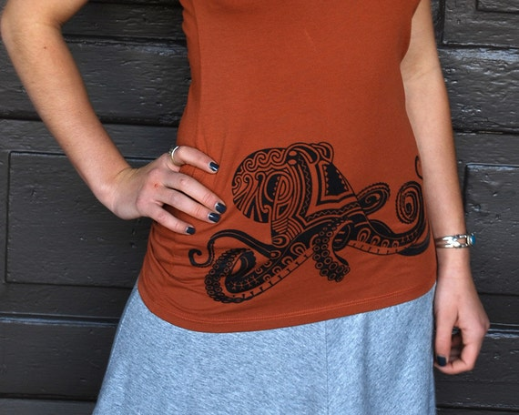Octopus Shirt - Women's Tshirt - Graphic Tee - Octopus Tattoo - Aboriginal Art - Awesome Shirt - Ocean Shirt