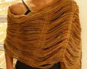 open weave shawl, terracotta and ochre base