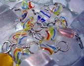 US 10.5 (6.50mm) Rainbow Strata Hearts Beaded Stitch Markers