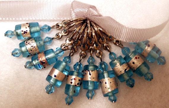 US10 - Aqua Sparkle Beaded Stitch Markers