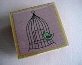 Bird in Birdcage Rubber Stamp