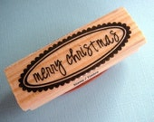 ON SALE Merry Christmas Scalloped Oval Wood Mounted Rubber Stamp