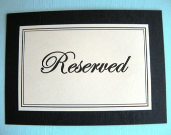 Two 5x7 Flat Wedding or Party Reserved Table Printed Signs in Black and Cream - Elegant Wedding Reception Signs - Ready to Ship