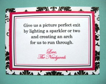 5x7 Flat  Sparkler Exit Wedding Sign in Black and White Damask and Hot Pink - Ceremony Getaway Photo Exit Sign - Ready to Ship