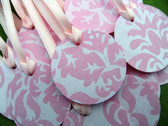 25 Light Pink Damask 2 Inch Circle Tags with Pale Pink Ribbon