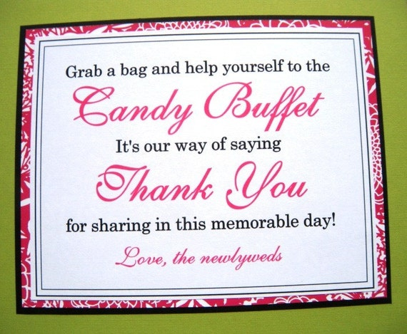 8x10 Candy Buffet Wedding Reception Sign In Black White And
