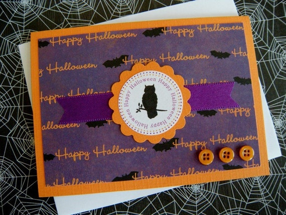 RESERVED Happy Halloween Owl Silhouette Greeting Card