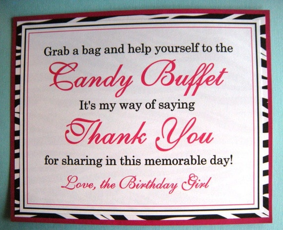 8x10 Flat Candy Buffet Birthday Party Signs Hot Pink And